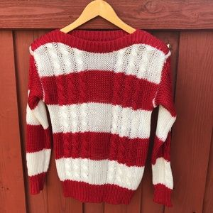 Vintage 80s red and white stripes sweater medium